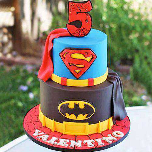 Exceptional 2 Tier Super Hero Cake for Birthday