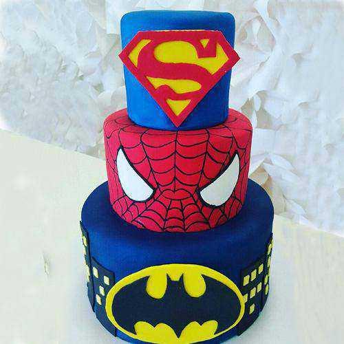 Signature Three Tier Super Hero Cake for Kids