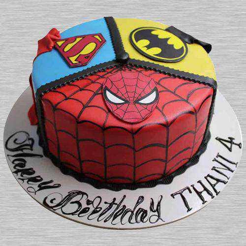 Yummy Super Hero Fondant Cake for Children