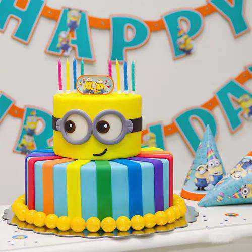Bakery-Fresh 2 Tier Minion Cake for Youngster