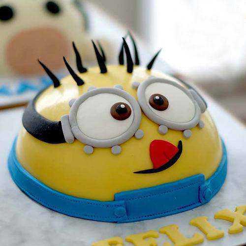 Garnished Minion Smash Cake with Hammer for Birthday