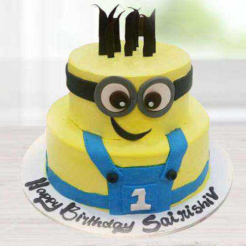 Lip-Smacking Two Tier Minion Cake for Kids