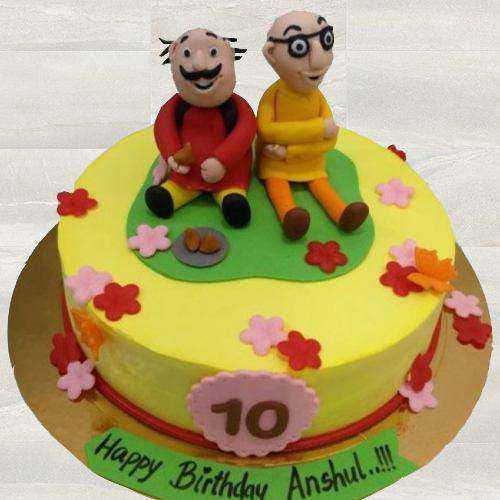 Enjoyable Motu Patlu Fondant Cake for Children