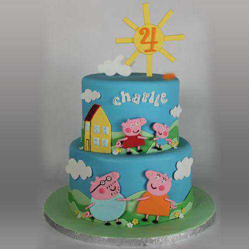Enjoyable 2 Tier Peppa Pig Cake for Children