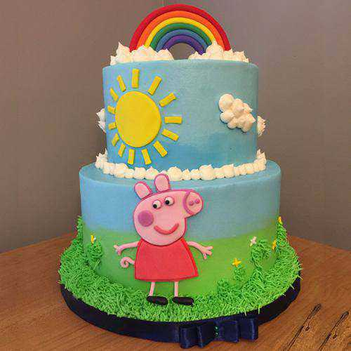 Sumptuous 2 Tier Peppa Pig Cake for Kids Party