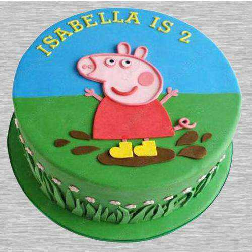 Luscious Peppa Pig Fondant Cake for Youngster