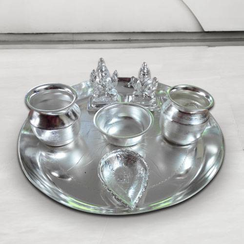 Marvelous Silver Plated Puja Thali with Silver Plated Lakshmi Ganesha