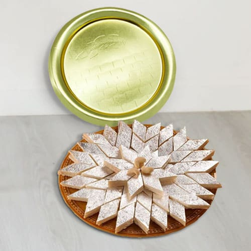 Gift of Kaju Katli with Golden Plated Thali