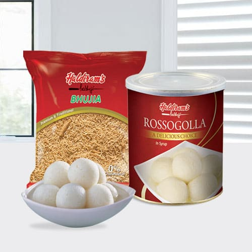 Tasty Haldirams Rasgulla and Bhujia