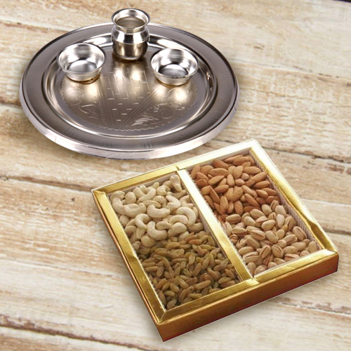 Silver Plated Puja Thali   Mixed Dry Fruits