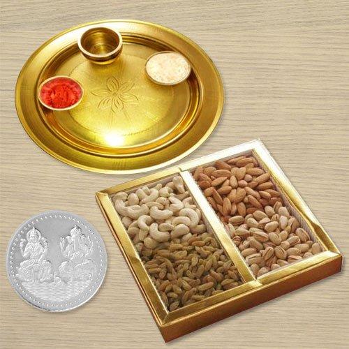 Dri Fruits N Gold Plated Thali , Free Coin