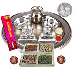 Dry Fruits with Silver Plated Laxmi Puja Hamper