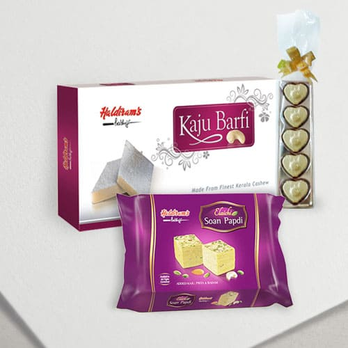 Chocolates with Haldirams Soan Papdi N Kaju Katli