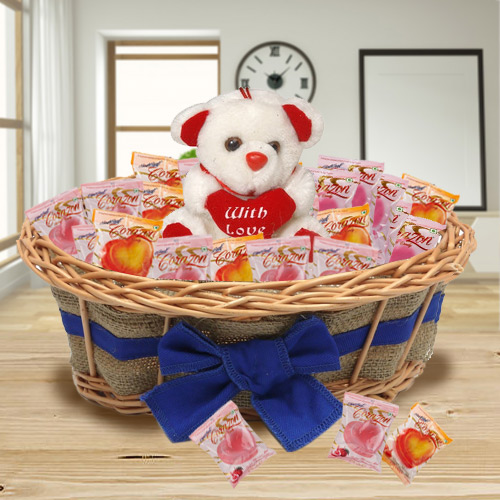 Special Basket of Teddy and Corazon Chocolates