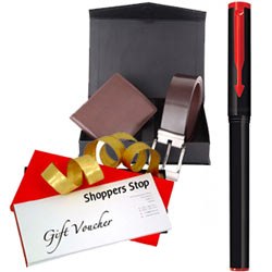 Spectacular Choice of Gift Voucher worth Rs.1000 from Shoppers Stop, Parkar Beta Pen and a Box of Wallet N Belt