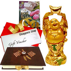 Send Shoppers Stop Vouchers, Laughing Buddha, Homemade Chocolates  N  a Free Best Wishes Card to your loved ones
