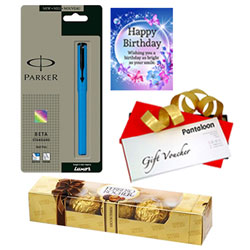 Exciting Gift of Pantaloons Voucher, Birthday Card, Parker Pen and Ferrero Rocher