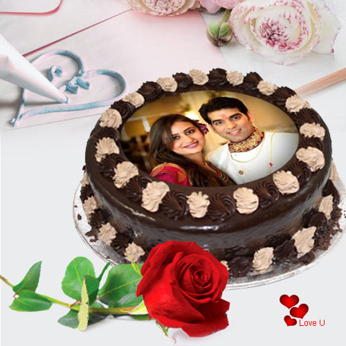 Majestic Combo of Chocolate Photo Cake with Single Red Rose