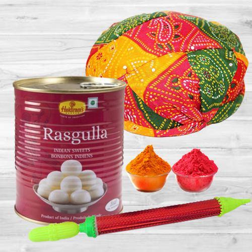Delicious Rasgulla Tin with Rajasthani Cap, Pichkari N Free Gulal