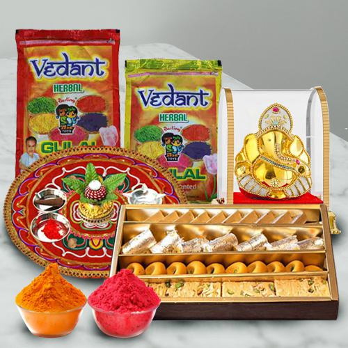 Festive Gift of Puja Thali with Assorted Sweets, Ganesh Mandap N Herbal Gulal