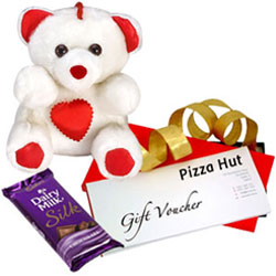 Delectable Combo of Pizza Hut Gift Voucher with Teddy N Cadbury Silk
