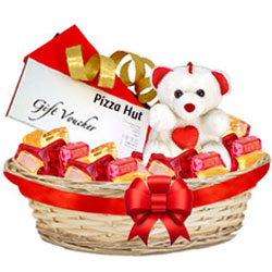 Sweet Foxes Assorted Fruits Basket with Teddy N Pizza Hut Gift Voucher