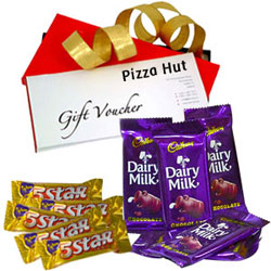 Appetizing Combo of Pizza Hut Gift Voucher with Cadbury Dairy Milk N 5 Star