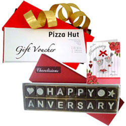 My Dearest Anniversary Pack of Handmade Chocolate with Pizza Hut Gift Voucher N Card