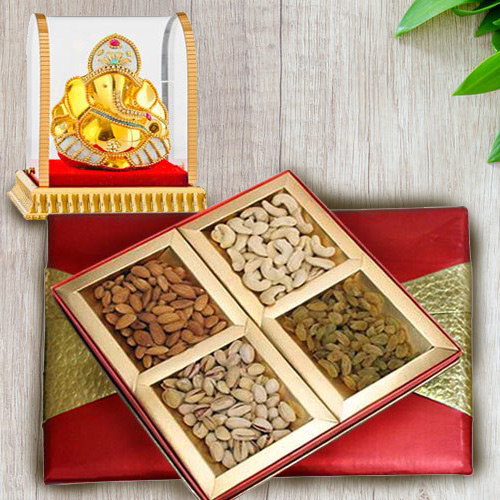 Tempting Mixed Dry Fruits Box with Lord Ganesha