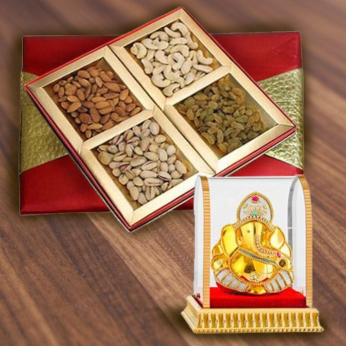 Gift Box of Assorted Dry Fruits with Ganesha Idol
