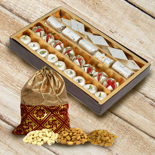 Tempting Pack of Dry Fruits Potli with Assorted Haldirams Sweets
