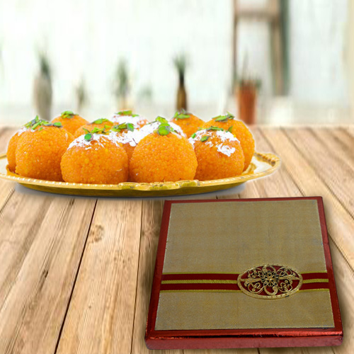 Appetizing Dry Fruits Gift Box with Boondi Ladoo from Haldiram
