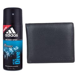 Classic Addidas Deo and Longhorns leather Wallet