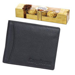 Gift Hamper of Longhorns Leather Wallet with a Ferrero Rocher