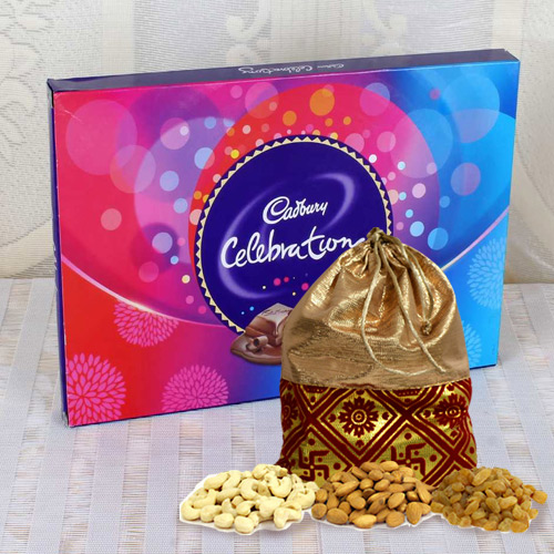 Crispy Dry Fruits Potli with Cadbury Celebrations Pack