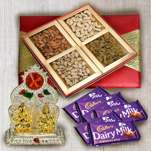 Delectable Mixed Dry Fruits with Chocolates and Ganesh Mandap