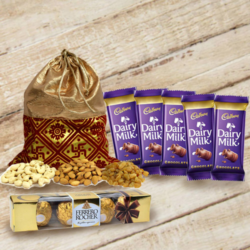 Mouth-Watering Treat of Chocolates with Dry Fruits Potli