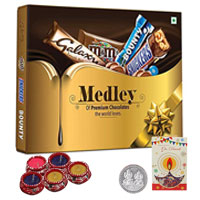 Alluring Gift of Assorted Chocolates with Diwali Greetings Card