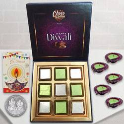 Tempting Treat of Chocolates with Diwali Greetings Card