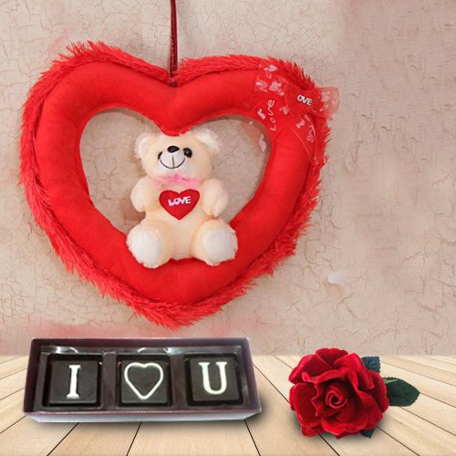 Incomparable Teddy Bear and Chocolates for Valentines Day