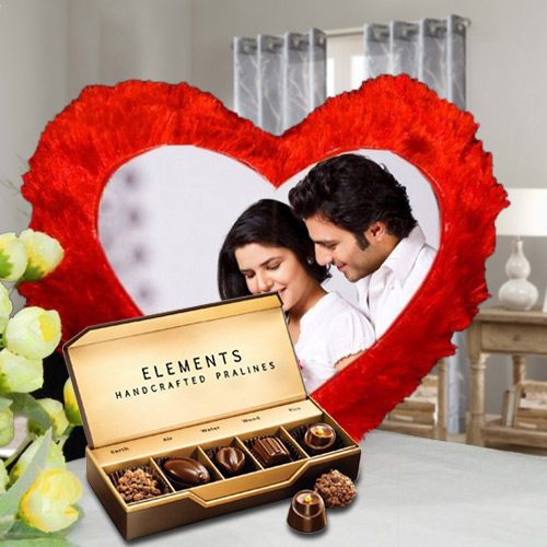 Marvelous ITC Chocolates with Heart Shaped Personalized Cushion