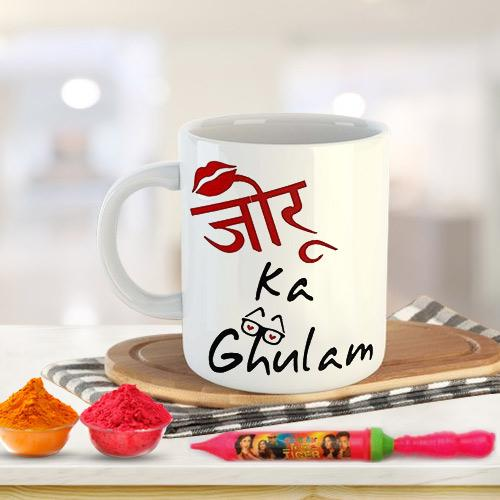 Playful Holi Gift of Coffee Mug Set n Herbal Gulal