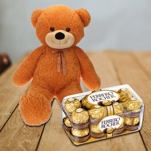 Attractive Super Big Teddy with Ferrero Rocher Chocolates