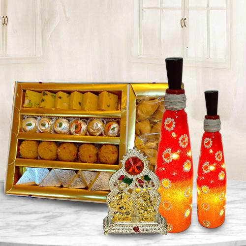 Decorative Bottle Art Lamp Set with Antique Ganesh Laxmi Mandap n Assorted Sweets