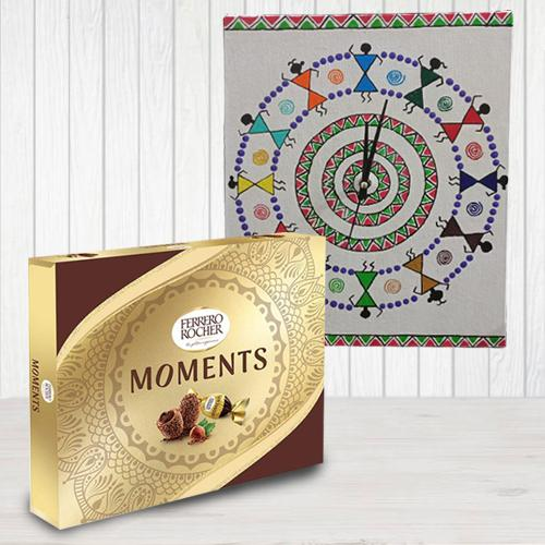 Special Ferrero Rocher Chocolates with Warli Art Handmade Wall Clock