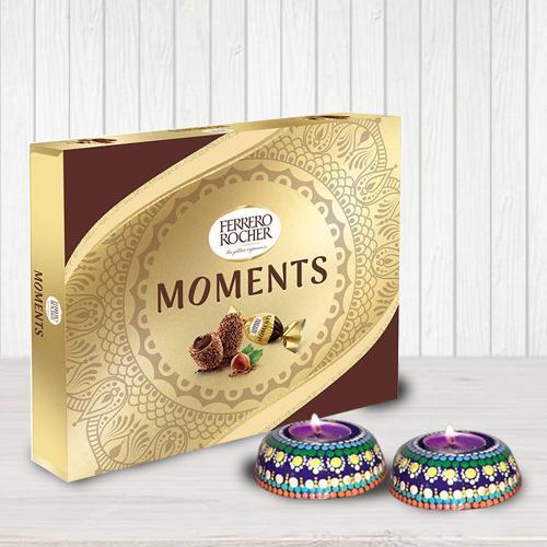 Lip Smacking Ferrero Rocher Chocolates with Dot Mandala Art Handmade Diya Set