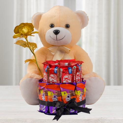 Exclusive Teddy with Golden Rose n 2 Tier Chocolate Arrangement