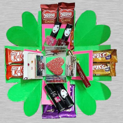 Triple Layer Explosion Box of Chocolates, Cosmetics n Photos