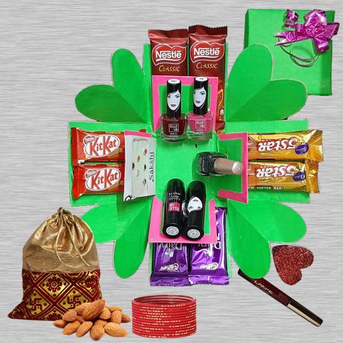 Amazing 2 Tier Explosion Box of Cosmetics, Almonds N Chocolates