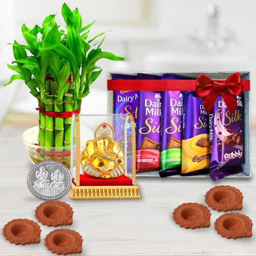 Environment Friendly Diwali Gift of Plants, Cadbury Chocolates n Ganesh Idol, Diya n Free Coin